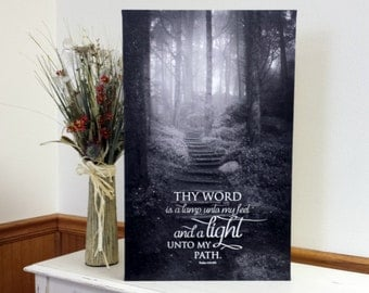 "Scripture Art, Scripture Print - ""Canvas Print"" - Thy word is a lamp unto my feet, and a light unto my path -  Psalms 119:105  - Wall Art"