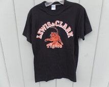 Vintage 80's Lewis & Clark Tigers Black Orange Russell Athletic T Shirt Sz M