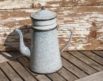 Vintage French Granite Ware Coffee Pot.