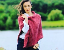 DIY knitting kit.  Poncho wrap Learn to knit.  Beginners crochet kit. Super chunky bulky shawl scarf cape K017