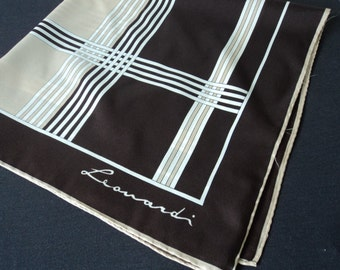 REDUCED - Vintage Leonardi brown abstract scarf (03409)