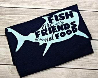 Fish Are Friends Not Food Shirt, Finding Nemo, Nemo, Sea, Blue Fish, Shark, Shark Shirt, Run Disney, Disney World, Disney Vacation, Dory,Sea