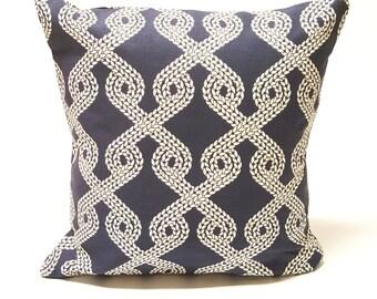 Handmade Navy Blue Rope Coastal Pattern Decorative Throw Pillow Cover  - Luxury, Pattern, Modern,Beach, Beach house, Naturical, island