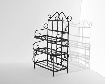 Vintage Minature Black Metal Shelf Unit - Dollhouse Furniture