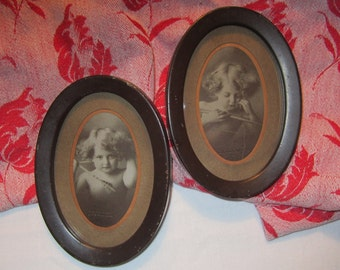Miniature 1897 Cupid Awake and Cupid Asleep Antique Picture Set - Pair of M. B. Parkinson Black & White Photographs in Original Tin Frame