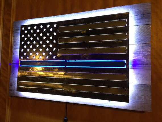 Thin Blue Line Metal Flag With Led Lights