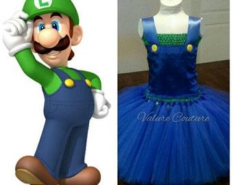 Luigi Super Mario Bros Inspired Tutu Dress     Facebook.com/ValureCouture     Pinterest.com/ValureCouture     ValureCouture.Etsy.com