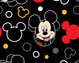 Last Piece (105cm x 55cm) cotton fabric - Disney Mickey Head Toss Black