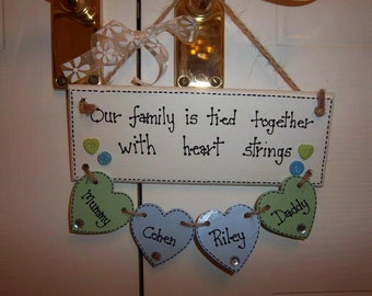 Hanging Heartstrings Plaque with 4 Hearts, Handmade Item, Gift for Mum, sister, friend. Special occasion, wedding