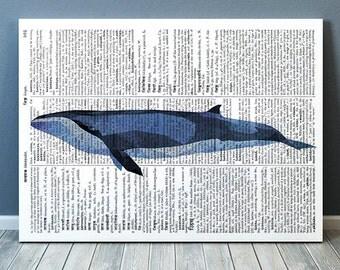 Dictionary poster Whale print Sealife art Nautical print TOA199-1