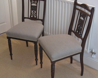 Pair of Late Victorian or Edwardian Mahogany Salon Chairs