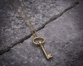 Gold key necklace, key charm, dainty key pendant, goldfilled necklace, golden Key pendant, everyday necklace, gift under 50, gift for her.