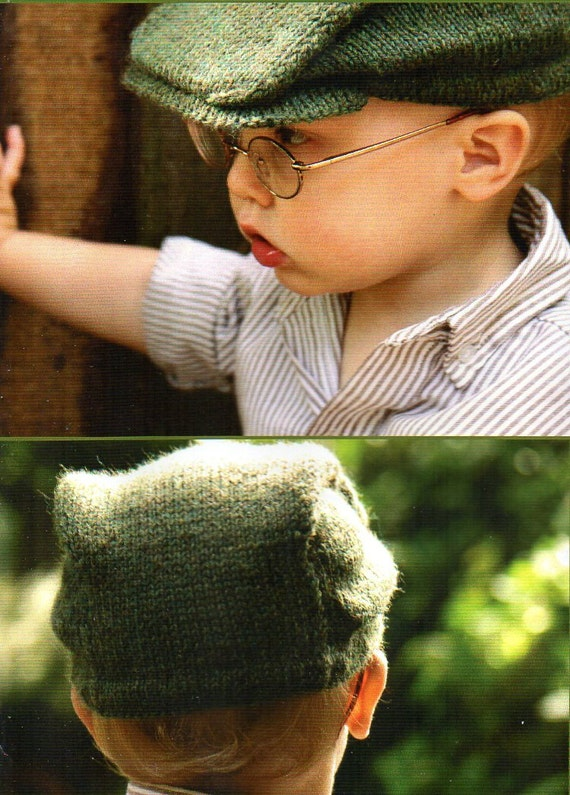 Knitting A Hat Flat : Boys newsboy cap hat knitting pattern with brim child toddler