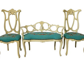 Italian Carved Sette, Italian Carved Chairs, French Style Settee French Style Chairs
