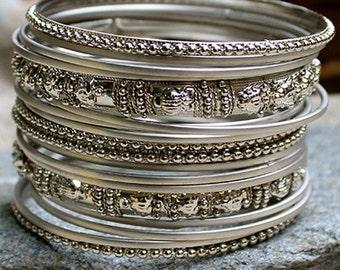 Manali Silver Color Bangles Set