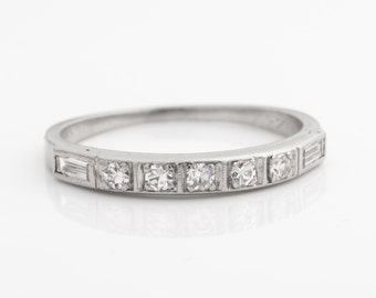 Circa 1917 Art Deco Platinum Diamond Wedding Band, 0.30cttw, ATL #364B