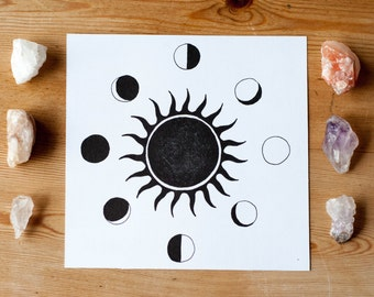 Celestial Sun and Moon Phases Art Print