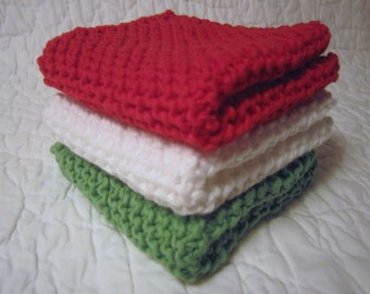 Crochet Washcloth, knit Dishcloth, Set of 3 Cotton Washcloths
