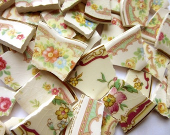 45 Floral Mosaic Tiles, Broken China Pieces, China Mosaic Pieces, Vintage China Tiles, Broken Porcelain,  Tiles for Mosaic - Mosaic Tiles