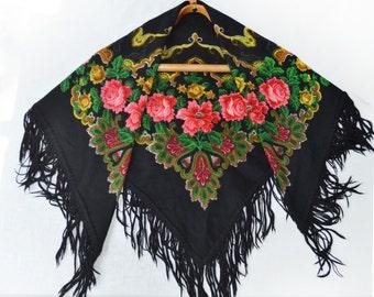 Vintage black head Ukrainian shawl with roses, Scarf With Tassels, beautiful Shawl, Russian Floral Scarf, made in USSR, Babushka Russian