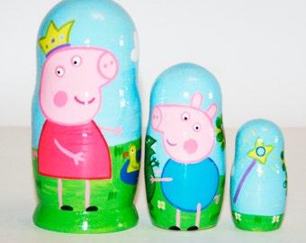 Peppa pig nesting dolls for kids, Peppa matryoshka russian doll