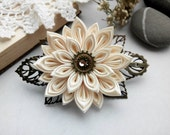 Kanzashi hair clip/Steam punk hair accessories/Kanzashi flower/Steampunk Barrette/Steam punk flower hair clip