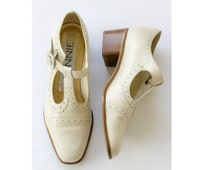 Ivory Brazilian leather t strap brogues with chunky stacked wood heel SIZE 6B