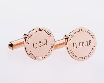 Father of the Bride Cufflinks,Rose Gold Date And Initial Cufflinks,Wedding Date Cufflinks,Groom Cufflinks With Any Date,Engraved Cufflinks