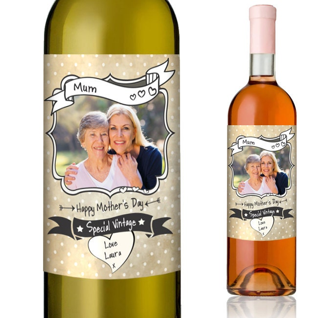 It is a photo of Unusual Mother's Day Wine Labels