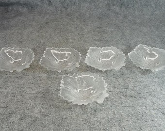 Footed Glass Leaf Shaped Sauce Bowl Set Of 5
