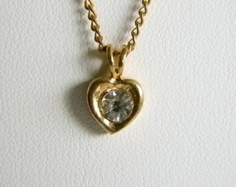 Vintage Gold Tone Heart Shaped Pendant with Clear Rhinestone Center Necklace