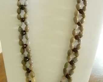 Job's Tear Coixseed Seed Beaded Kidney Bean Weaved  Pale Green Red Long Necklace
