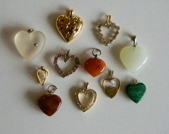 Eleven Heart Shaped Charms Pendants - Various Sizes
