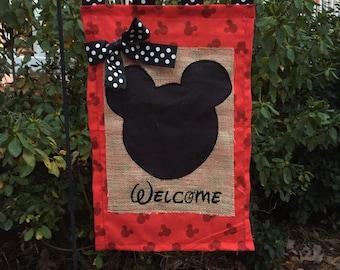 Mouse Head Embroidered Burlap Garden Flag Door Hanger