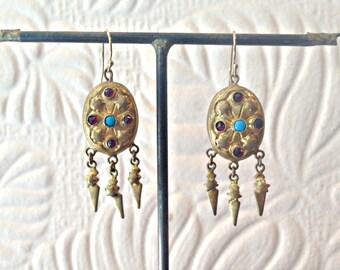 Genuine Victorian Turquoise Garnet Gold Filled Earrings - Antique - Vintage