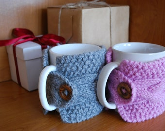 Knitted cup cozy, Mug cozy, Coffee cozy, Hand Knitted cup holders