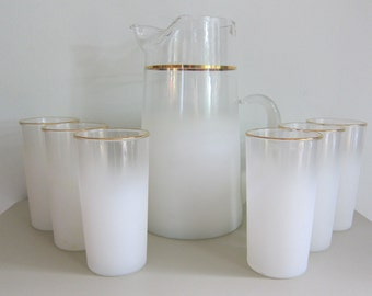 Mid-Century West Virginia Glass Blendo Drinkware and Pitcher Set