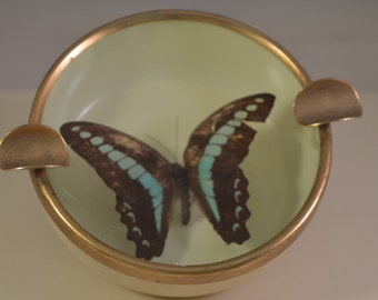 Vintage metal Small ashtray with a butterfly in glass