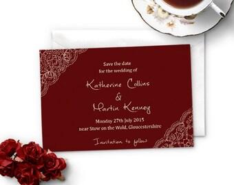 Save the date wedding card, lace border design, burgundy & cream