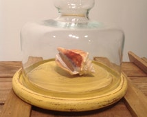 Medium Vintage Rustic Yellow Cheese Dessert Board with Glass Cloche