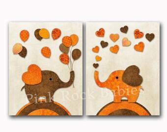 Elephant nursery art orange brown wall decor baby girl bedroom artwork kids room playroom decoration toddler poster newborn shower gift