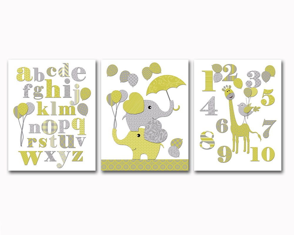 Alphabet Wall Decor Nursery : Lime grey abc print elephant giraffe nursery art alphabet wall