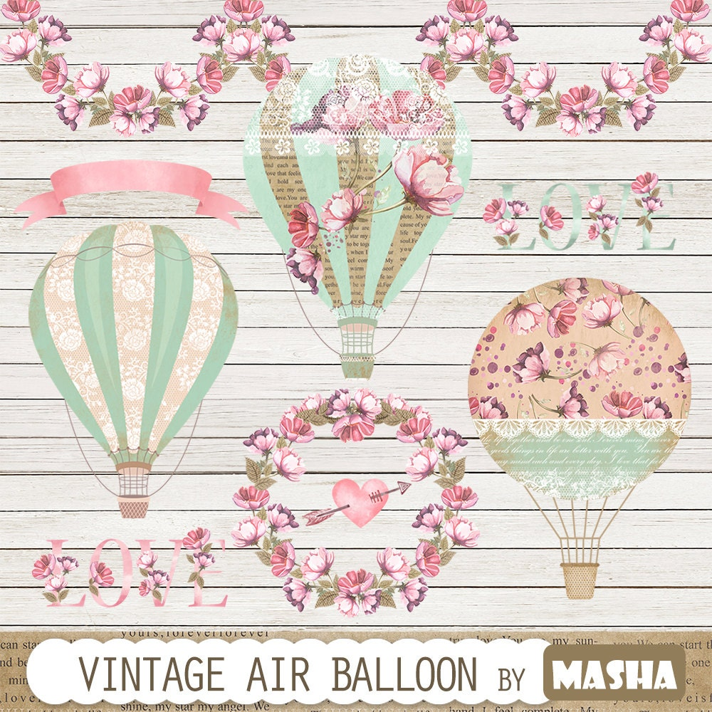 Vintage Balloon Clipart: Vintage Hot Air Balloon By