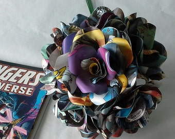 12 Comic Book Roses, Dozen Paper Flower Roses, Marvel or DC Comic Books, Handmade Paper Flowers