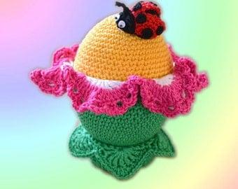 CROCHET PATTERN, Easter Egg-Flower, Crochet ladybird