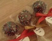 Holiday Cake Pops, Christmas Cake Pops with Red Sprinkles, Green Sprinkles, and White Sprinkles, 1 Dozen