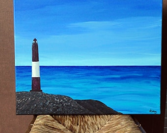 table painting lighthouse and ocean maritime decoration