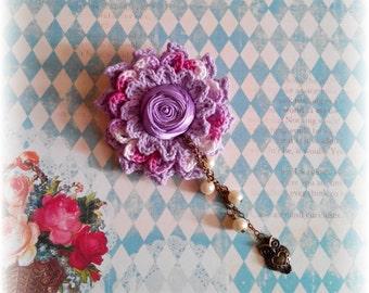 Crochet Flower Brooch Pattern: Arini Brooch (accessories, wedding, applique, bag tag, etc.)