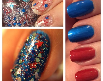 Patriotic Polish Package - mini nail polish USA red, white, and blue