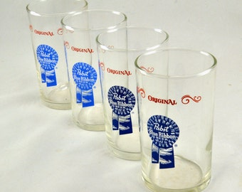 Beer Glasses Pabst Blue Ribbon - Vintage 1960s 1970s - 7 Ounce Juice Style Tavern Barware